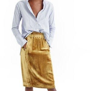 NWT j crew golden velvet pull on skirt M